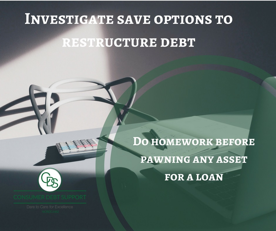 Investigate save options to restructure debt